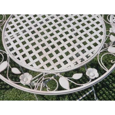 Terasz bútor szett - asztal és 2 szék, fehér
